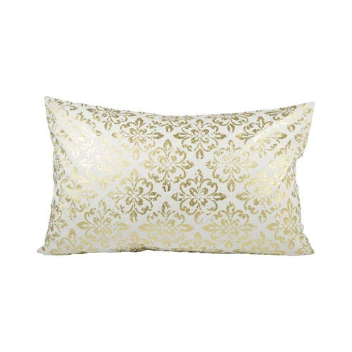 August Snow and Gold Throw Pillow