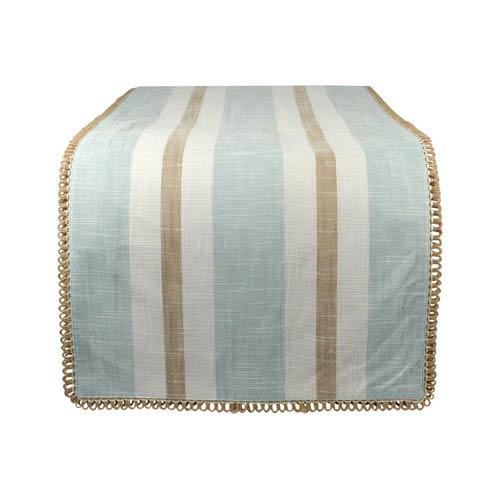 Carril Light Blue and White Table Runner