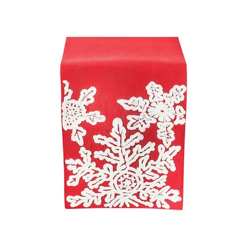 Neve Ribbon Red and Crema Table Runner