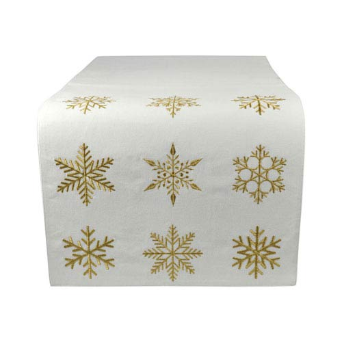 White Christmas Snow and Gold Table Runner