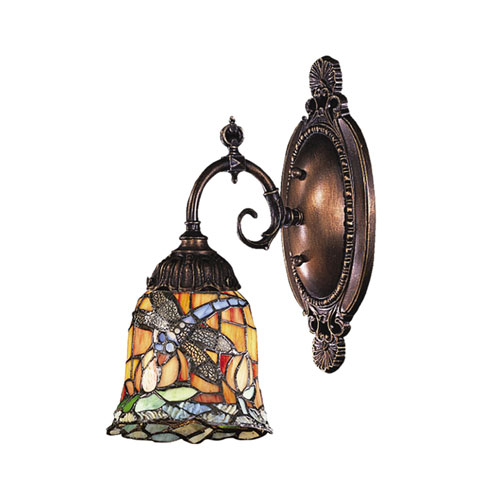 Dragonfly Mix N Match Tiffany Bronze One Light Wall Sconce