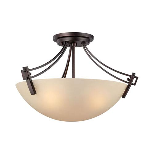 Wright Espresso Three-Light Semi Flush Mount