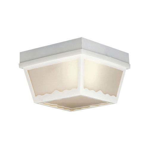 Thomas Lighting Essentials Matte White Eight-Inch Outdoor Flush Mount