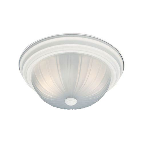 Essentials Textured White 13-Inch Two-Light Flush Mount
