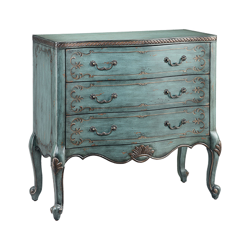 Freya Hand-Painted Bronze and Blue Chest