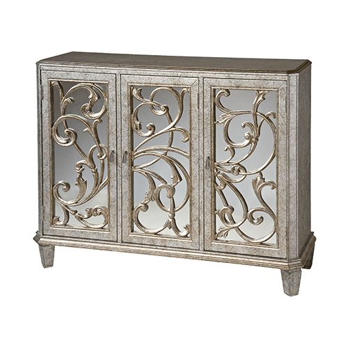 Leslie Hand Painted Antique Silver And Black Cabinet