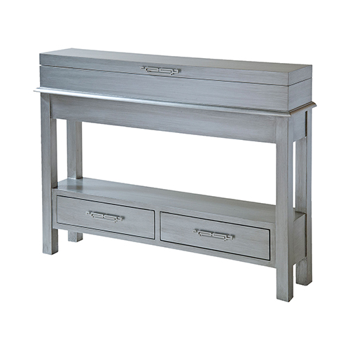 Stein World Messina Hand-Painted Silver and Brushed Nickel Cabinet