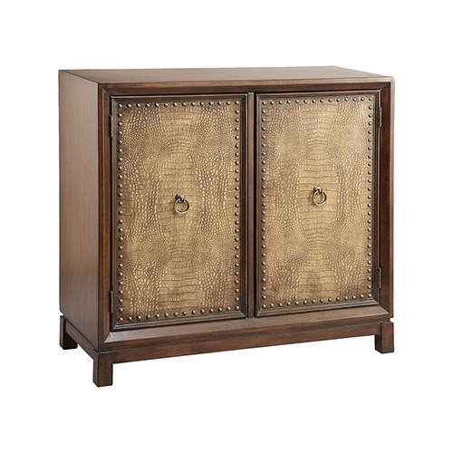 Weir Hand-Painted Wood-Tone Cabinet