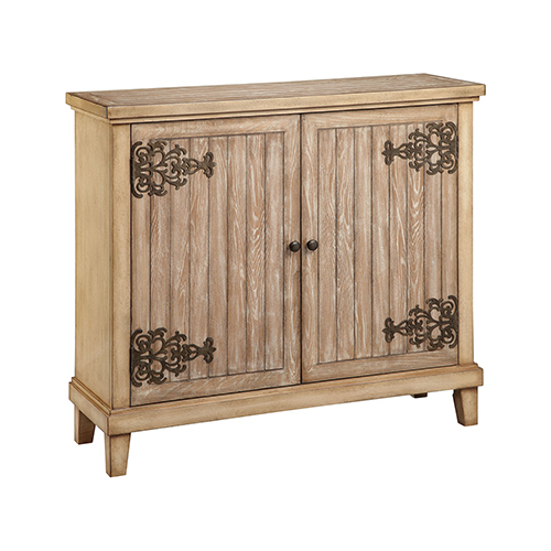 Solomon Hand-Painted Antique Oak and Antique Bronze Cabinet