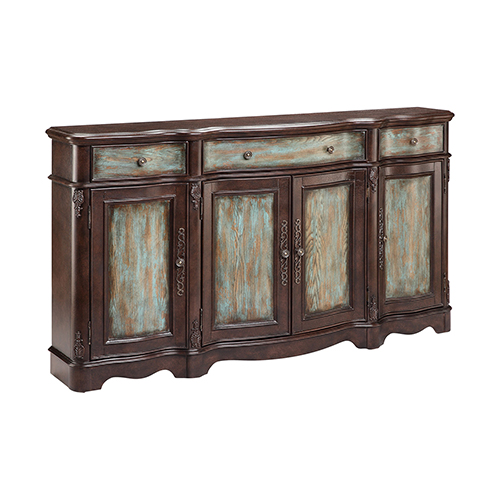 Laurie Turquoise and Dark Brown Cabinet