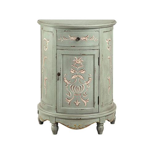Lucille Hand-Painted Antique Mint and Gray Cabinet