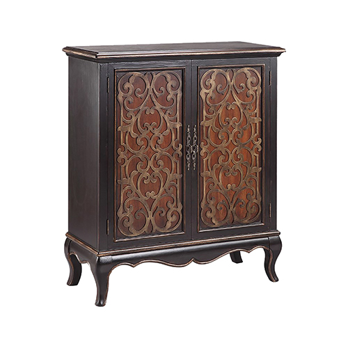 Jamie Antique Black and Golden Brown Cabinet