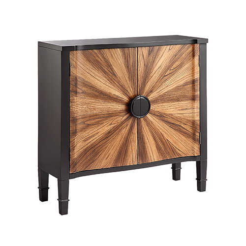 Zora Hand-Painted Black and Natural Oak Cabinet