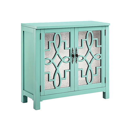 Stein World Laden Hand-Painted Turquoise with Antique Mirror Cabinet