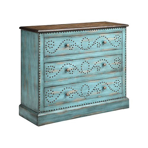 Ursula Hand-Painted Turquoise Chest