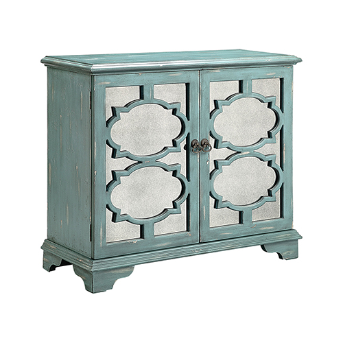 Stein World Candice Hand-Painted Antique Blue with Antique Mirror Cabinet