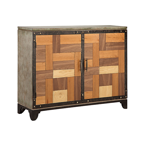 Mosher Hand-Painted Gray with Wood Tone Cabinet