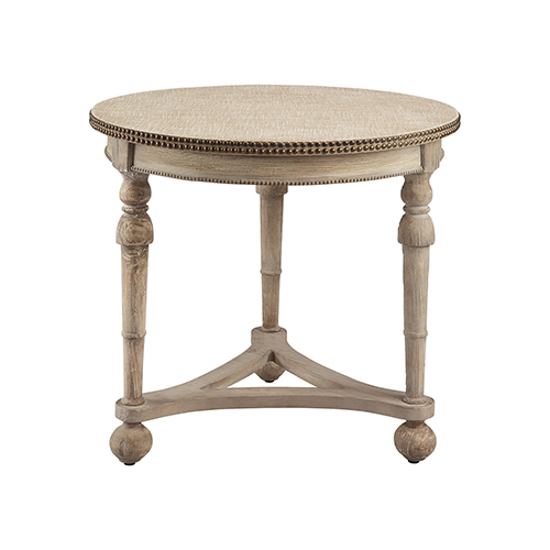 Wyeth Antique Cream and Double Brass Accent Table
