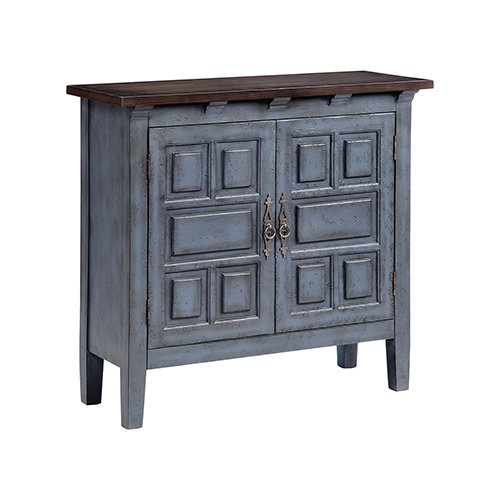 Corning Hand-Painted Blue and Brown Cabinet