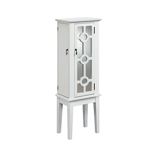 Hines White Mirrored 14-Inch Armoire