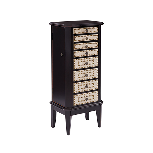 Corie Hand-Painted Brown and Cream Jewelry Armoire