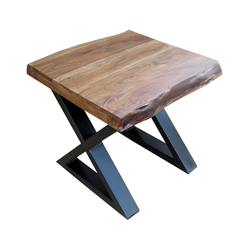Living On The Edge Wood and Black Side Table