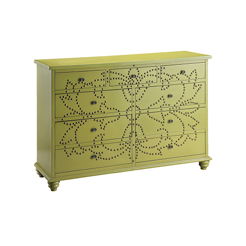 Ian Hand-Painted Green and Antique Brass Chest