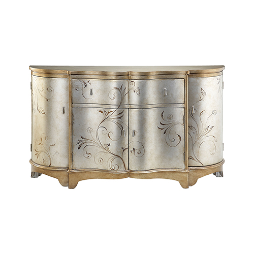Celeste Hand-Painted Silver and Gold Credenza