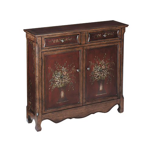 Chamberlin Hand-Painted Walnut and Burgundy 41-Inch Cabinet