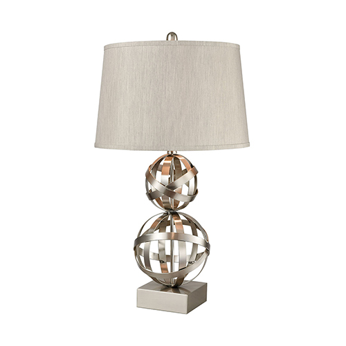 Stein World Strapped Orb Brushed Steel One-Light Table Lamp