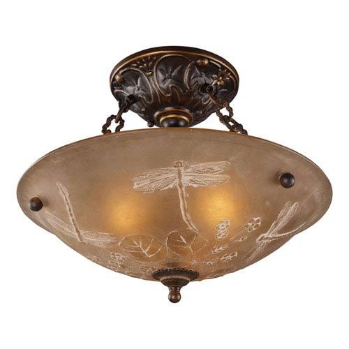 Elk Lighting Restoration Flushes Golden Bronze 16-Inch Three Light Semi-Flush Mount Fixture