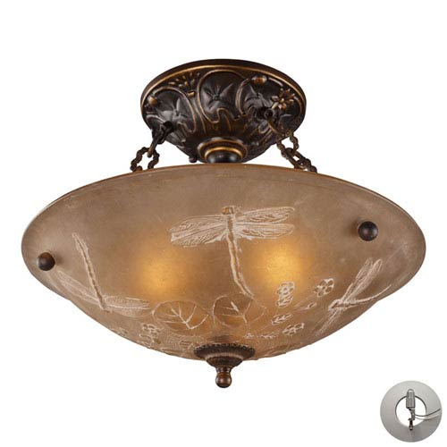 Elk Lighting Restoration Flushes Golden Bronze 16-Inch Recessed Three Light Semi-Flush Mount Fixture