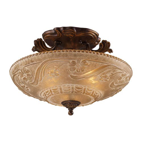 Elk Lighting Restoration Flushes Golden Bronze Three Light Semi Flush Mount Fixture Fixture with Recessed Conversion Kit