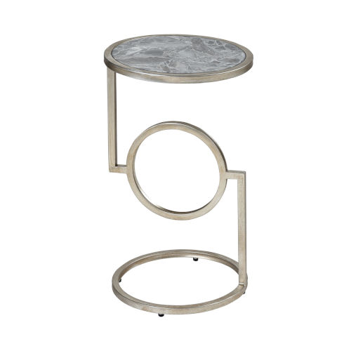 Eye End Grey Stone with Silver Leaf 12-Inch Accent Table