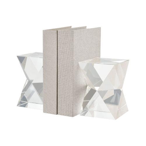 Danske Clear Crystal Bookend, Set of Two