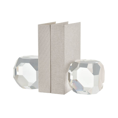 Beckham Clear Crystal Bookend, Set of Two