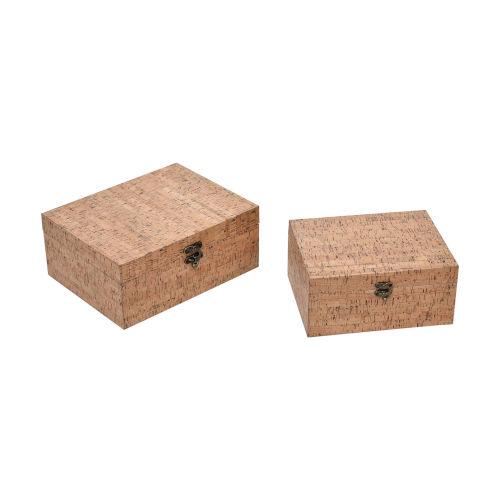 Cork Natural Cork Decorative Box, Set of Two