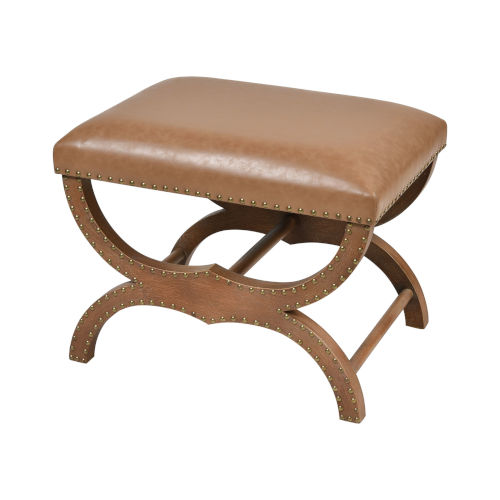 Bridle Tan with Dark Stain Wood Single Bench