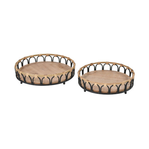 Fisher Island Natural Rattan with Black Decorative Tray, Set of Two