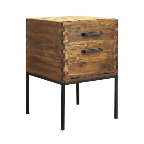 Chef Corner Woodlwith Stain with Antique Brass 24-Inch Accent Table