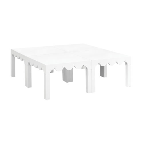 Lifestyle White Canvas Coffee Table, Set of Four