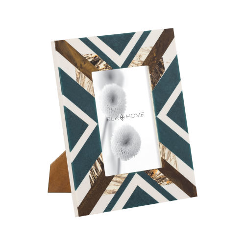 Primary Blue White and Gold 4 x 6 Inch Picture Frame