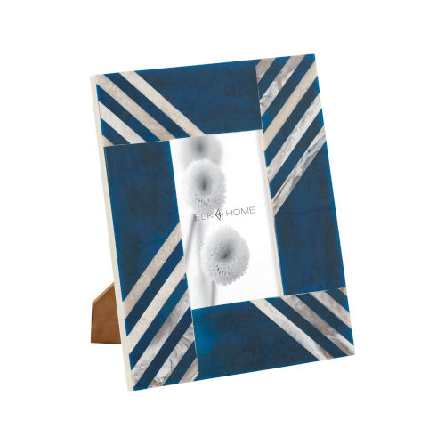 Stripes White with Blue 4 x 6 Inch Picture Frame