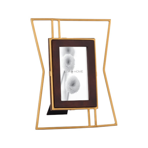 Retro Gold and Walnut Wood 4 x 6 Inch Picture Frame - Large