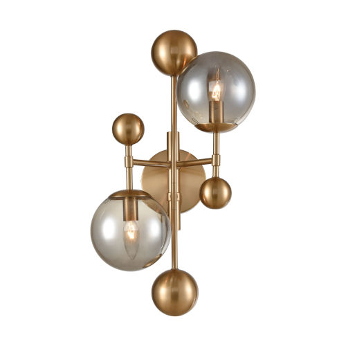 Ballantine Aged Brass with Smoked Glass Two-Light Wall Sconce