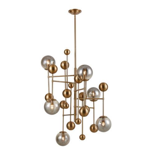 Ballantine Aged Brass with Smoked Glass Six-Light Chandelier