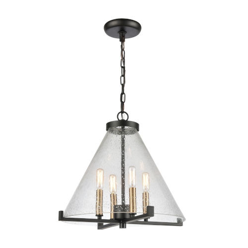 The Holding Matte Black with Satin Brass Four-Light Pendant