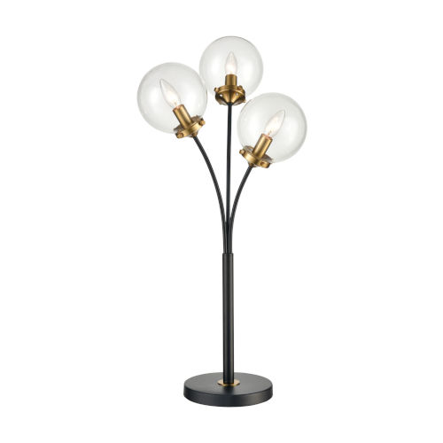 Boudreaux Burnished Brass with Matte Black Three-Light LED Table Lamp