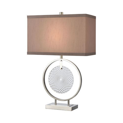 Saturn Chrome with Clear One-Light Table Lamp