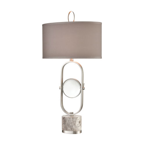 On Closer Examination Grey Marble with Satin Nickel One-Light Table Lamp